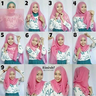 Tutorial Hijab Pashmina Wajah Bulat
