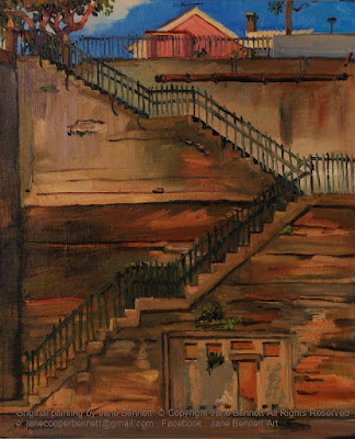 plein air oil painting of the escarpment of Hickson Road and stairs to High Street Millers Point by heritage artist Jane Bennett