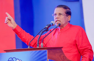President addressing the May Day rally in Getambe grounds in Kandy