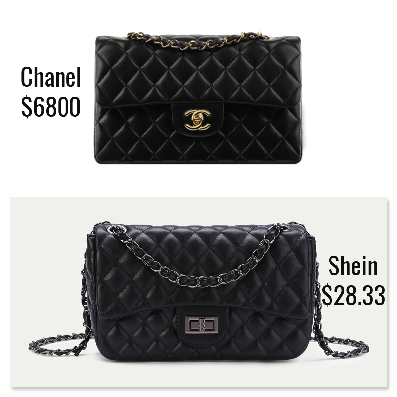 0f1bee099 Dupe  Shein Quilted Crossbody Chain Bag ( 28.33) This dupe bag is a fusion  of two absolutely classic Chanel flap handbags. It has the ...