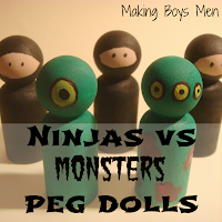 Ninjas vs monster peg dolls