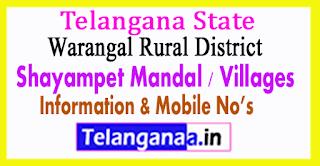 Shayampet Mandal Villages in Warangal Rural District Telangana