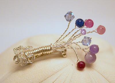 Flower pin: amethyst, swarovski, silver :: All Pretty Things