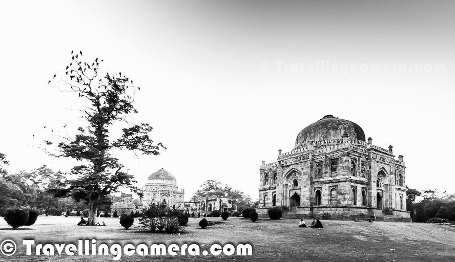 I have been to Lodhi Garden many times and mostly entered through the gate near to Lodhi Restaurant and most of times ended up walking around Bara Gumbad tomb, Sheesh Gumbad, The three domed mosque which is adjacent to Bada Gumbad, walled enclosure of the Sikander Lodi's Tomb and the water body in one of the corners of Lodhi Garden. But most of the times, I noticed a very well lit Tomb from the road which connects Sufdarjung Tomb with India Habitat Center. During last week, I was again crossing through the same road and thought of stopping. It was around 5 pm and my meeting was scheduled at 7pm in Khan Market. So this Photo Journey shares some of the photographs clicked during 2 hours around Mohammed Shah's Tomb at Lodhi Garden.The tomb of Mohammed Shah is one of the the earliest tombs in the Lodhi garden, which was built in 1444 by Ala-ud-din Alam Shah as a tribute to Mohammed Shah. Mohammed Shah was the last of the Sayyid dynasty rulers. Lodhi Garden is one of the famous picnic spots for Delhites and its one of the green belts in Delhi. Lodhi Garden is spread over 90 acres covered with  . The garden has various other monuments as well - Sikander Lodhi's Tomb, Sheesh Gumbad, Athpula and Bara Gumbad. This place is protected by Archeological Survey of India (ASI)Lodi Gardens is an important place of preservation. The tomb of Mohammed Shah is visible from the road and is the earliest structure in the gardens. The architecture Mohammed Shah's Tomb is characterized by the octagonal chamber, with stone chhajjas on the roof and guldastas on the corners.The Lodi dynasty in India arose in 14th century and Lodhi Empire was established by the Ghizlai tribe of the Afghans. They formed the last phase of the Delhi Sultanate.Some time back restoration work has happened for these monuments. In fact, these days two main projects are under progress at Lodhi Garden - One is a colorful initiative by some Artists to paint all dustbins at Lodhi Garden with some beautiful designs. The second one if restoration work happening near the mosque. The work of conservation Mohammed Shah's Tomb was started with the Mohammed Shah's Tomb. At first, restoration of the inverted lotus on top of the dome was carried out.It's super awesome to roam around the green lawns of Lodhi Garden. Lot of folks from surrounding areas come here during morning & evenings. Many of the joggers can be seen on different trails of the Lodhi Garden. Mohammed Shah's Tomb is beautifully surrounded by trees from all the directions. During late evening, Mohammed Shah's Tomb is lit with external lighting. That's how it caught our attention long time back.Lot of kids come to Lodhi Garden with their friends to enjoy sports. Many times cricket & football lovers can be seen around different lawns of Lodhi garden. It was a weekday when I visited Lodhi Garden but still there were lot of folks in the garden at 5:30pm. Many of the families were there to walk around and have fun with their loved ones.To know more about the restoration process of Mohammed Shah's Tomb, click HEREMany folks come to Lodhi Garden to meditate or do some exercises. Overall environment at Lodhi Garden is quite different from other places in Delhi. I think it's more related to the green patches we have created in south Delhi. Likewise Nehru park is also another well maintained green area in south Delhi.Lodhi Garden is a good place for Delhites and tourists to escape from the hustle-bustle of the city. During afternoon some parts of the garden is full of by couples seeking solitude.Lodhi Garden is a favorite place for joggers, fitness enthusiasts and also morning/evening walkers. It is also a fine picnic spot in winters. Many of the families can be seen around Gol gumbad during evenings & weekends...As a photographer one can spend the day photographing birds, monuments, flora and fauna. The garden is home to several species of birds.