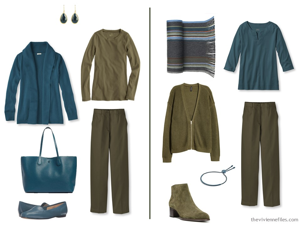 Using Teal As An Accent To Olive Green Outfit
