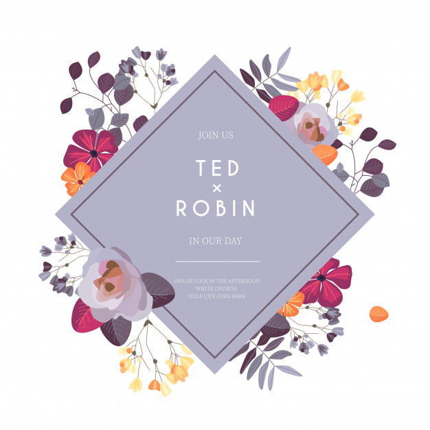 Wedding invitation with colorful flowers Free Vector