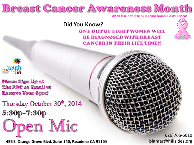 Hillsides Youth Moving On's Peer Resource Center hosting Open Mic on 10/30/14 to Benefit Breast Cancer Awareness