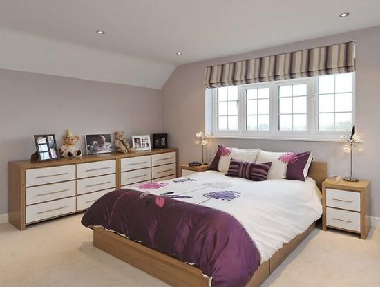 Kamar tidur utama sederhana yang nyaman dan elegan
