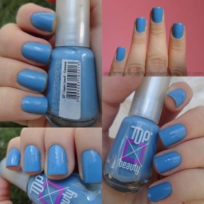Unhas com esmalte azul Lapis Lazuli da Top Beauty