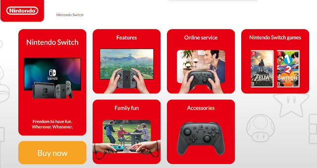Nintendo Switch home page features online service games family fun accessories