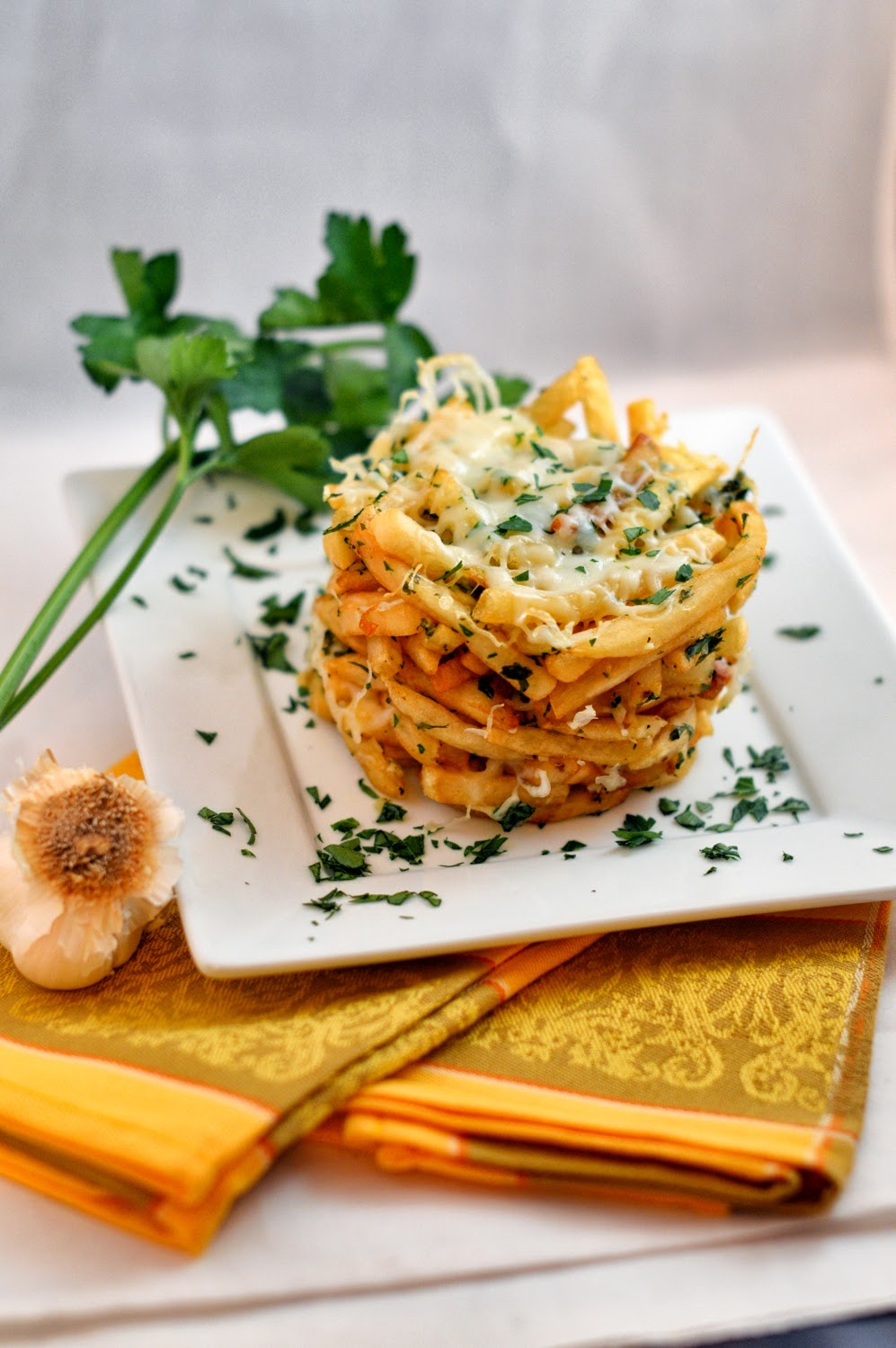 Garlic Parsley French Fry Tower | Savory Experiments