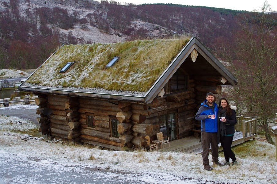 Couple at Eagle Brae Log Cabins in Scottish Highlands