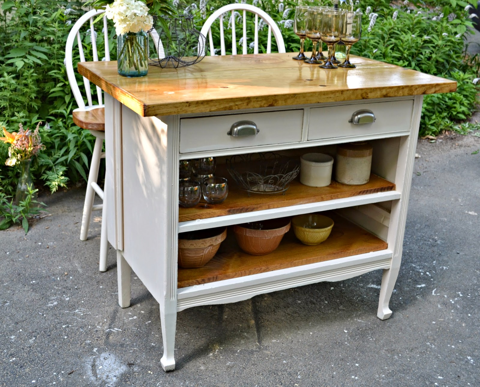 Repurposed Antique Dresser As A Kitchen Island With A: Heir And Space: Antique Dresser Turned Cottage Kitchen Island