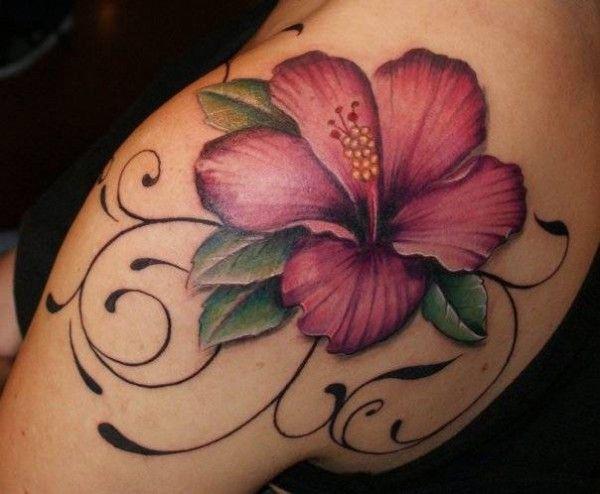 Beautiful hibiscus flower tattoo your body art