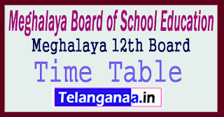 MBOSE 12th Time Table 2018