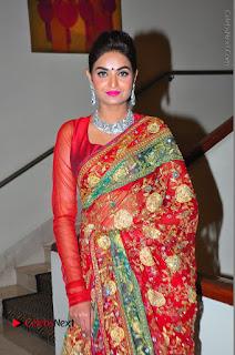 Model Sharon Fernandes Stills in Red Saree at Trendz Exhibition Launch  0047.JPG