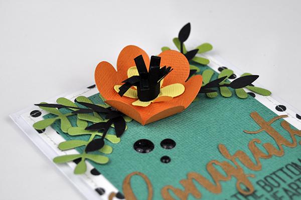 Congrats Flower die cut card by Jen Gallacher from www.jengallacher.com. #jengallacher #echoparkpaper #cardmaker #diecutting #stamping