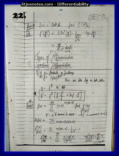 differentiability notes iitjee