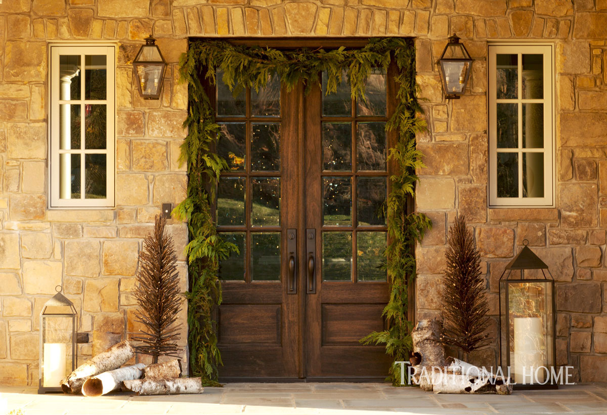 image result for beautiful front door entry decorated for Christmas elegant sophisticated interior design