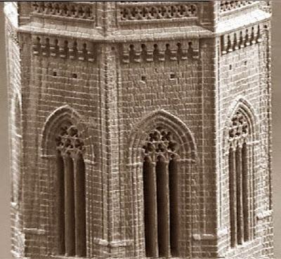 Quinto juego de ajedrez, detalle del campanario de la Seu Vella de Lleida