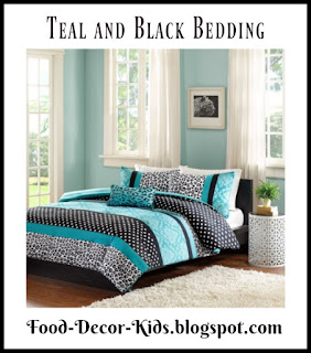 Teal and Black Bedding for a Teal and Black bedroom