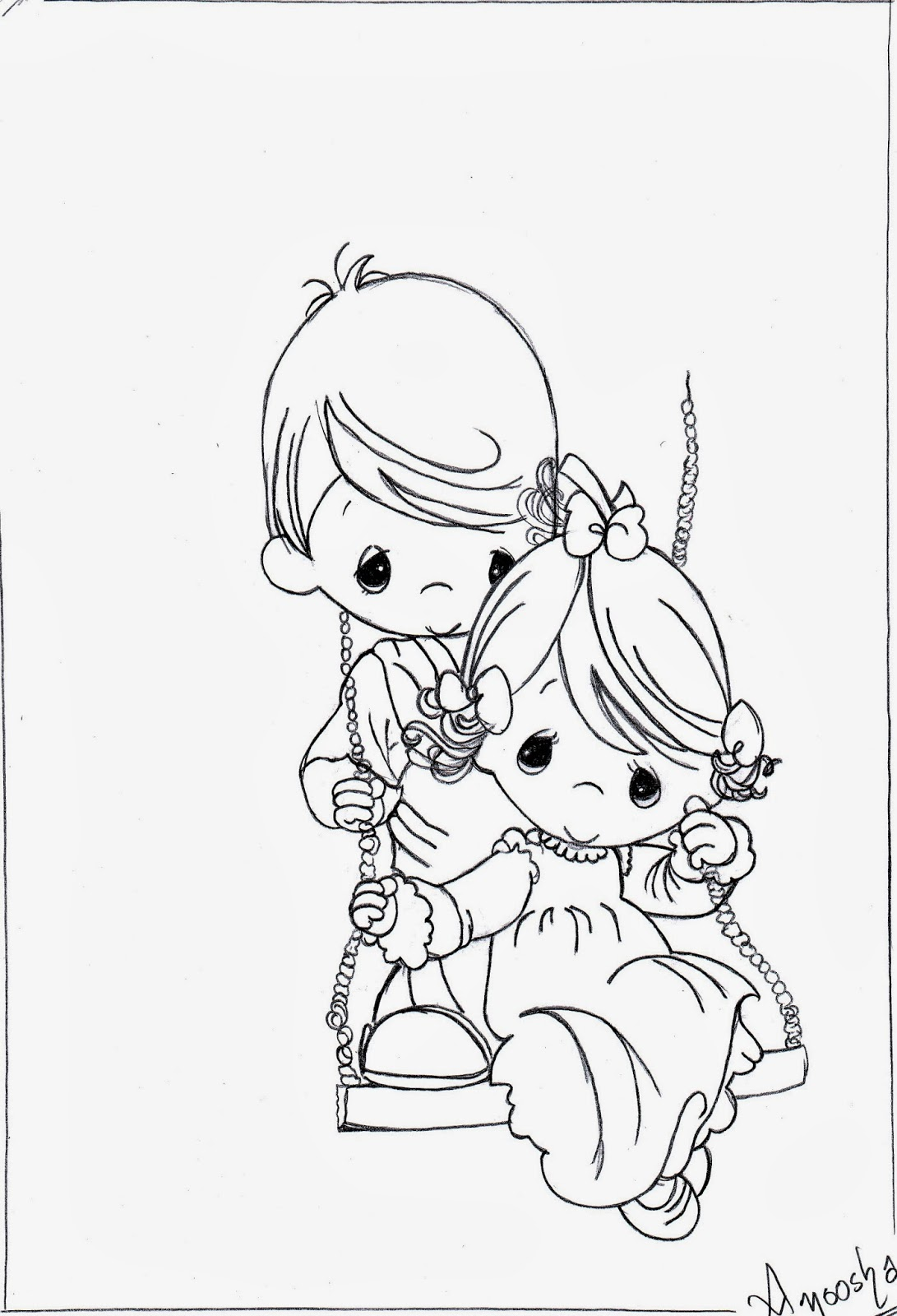 Drawing 3 Precious Moments The Swing