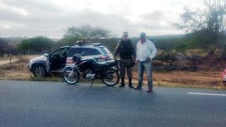 Guarnição Policial de São Vicente do Seridó recupera moto roubada