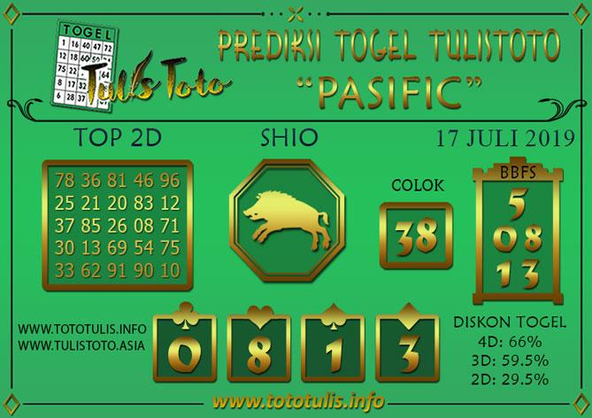 Prediksi Togel PASIFIC TULISTOTO 17 JULI 2019