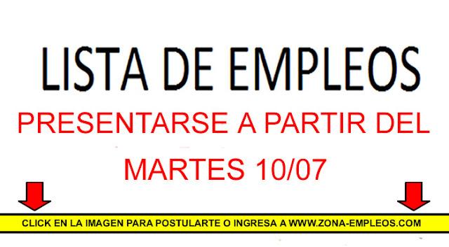 EMPLEOS PARA PRESENTARSE A PARTIR DEL 10/07