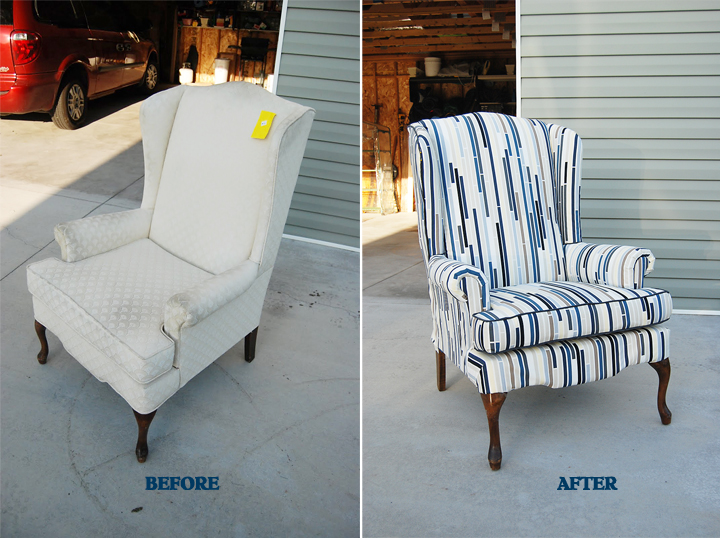 How to Reupholster a Wingback Chair Part II & Lemonade and Porch Swings: How to Reupholster a Wingback Chair Part II
