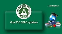 Goa PSC CDPO syllabus