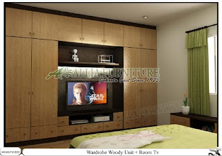 Lemari baju minimalis tv unit Woody