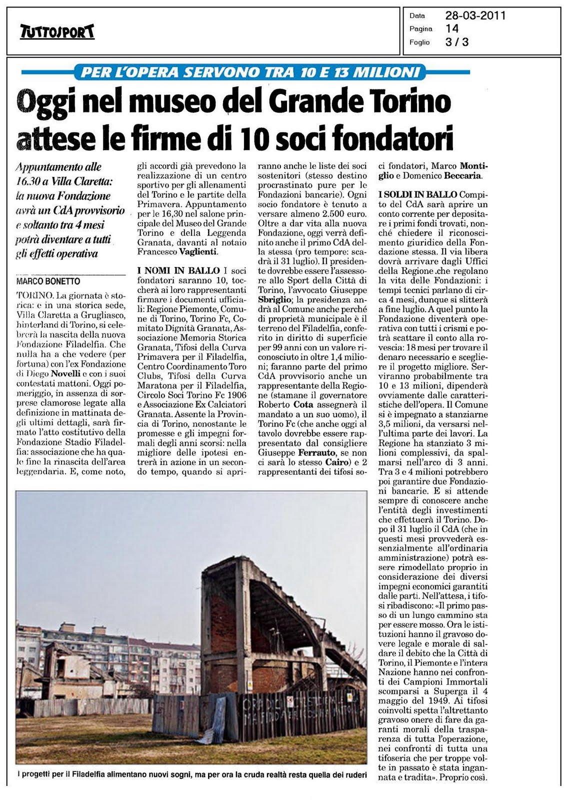 66a7e6ab53 28/03/11 - Oggi nel Museo del Grande Torino attese le firme di 10 soci  fondatori