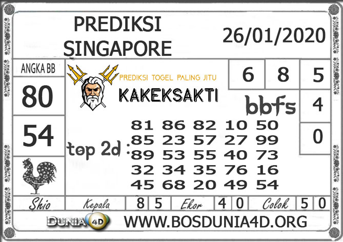 PREDIKSI TOGEL SINGAPORE DUNIA4D 26 JANUARI 2020