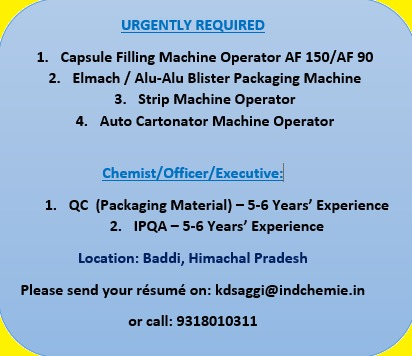Urgently Required Chemist / Officer / Executive / Operators ...