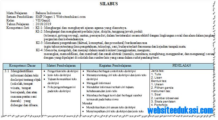 Silabus Bahasa Indonesia Kelas 7 Smp Mts K13 Revisi 2018 Websiteedukasi Com