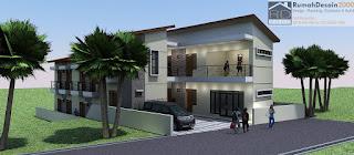 Perspektif 3 Desain Rumah kost minimalis modern 2 lantai