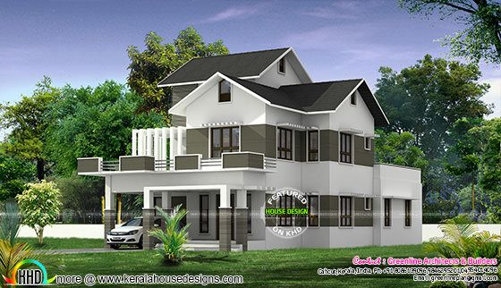Modern mix roof home design in 2776 sq-ft