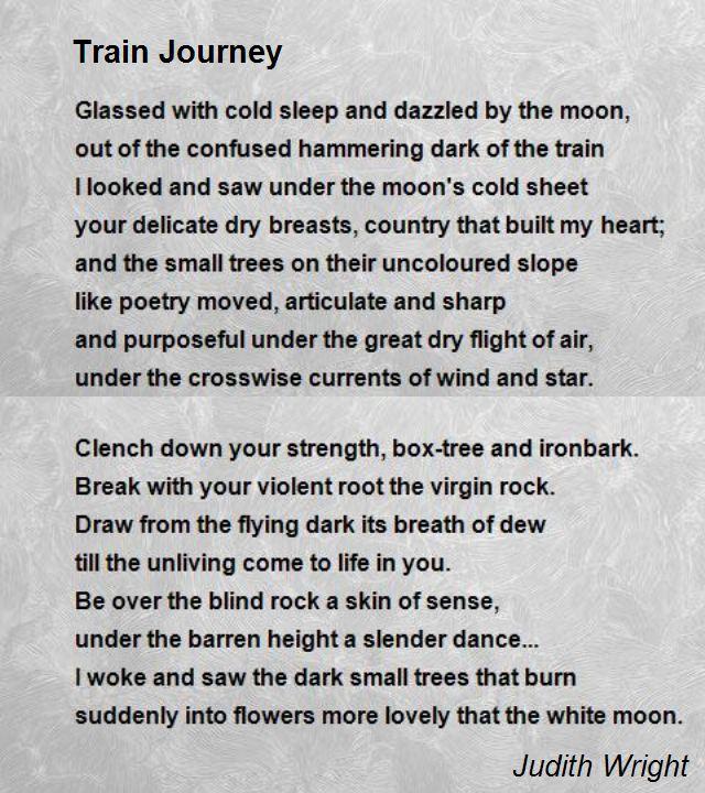 train journey by judith wright helen hagemann train journey by judith wright
