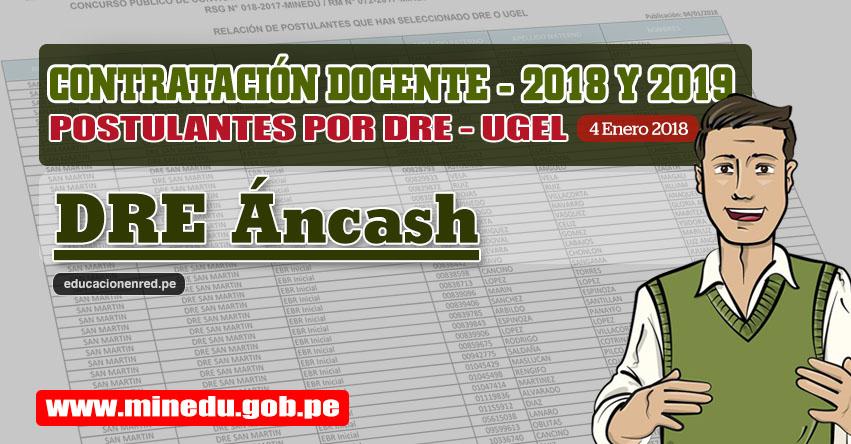 DRE Áncash: Lista de Postulantes por UGEL DRE - Contrato Docente 2018 (.PDF) www.dreancash.gob.pe