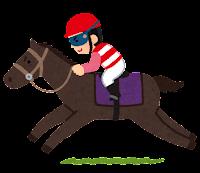馬に乗るジョッキーのイラスト(赤)
