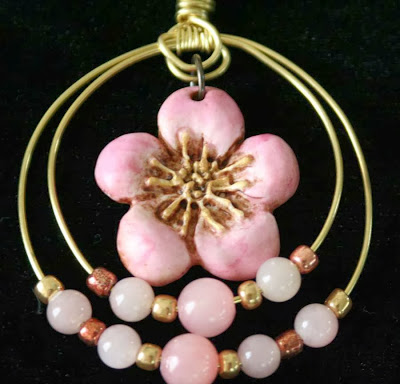 Golden Spring: polymer clay art bead, brass, jade, seed beads :: All Pretty Things