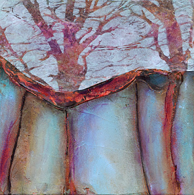 collage, acrylic painting, trees, texture