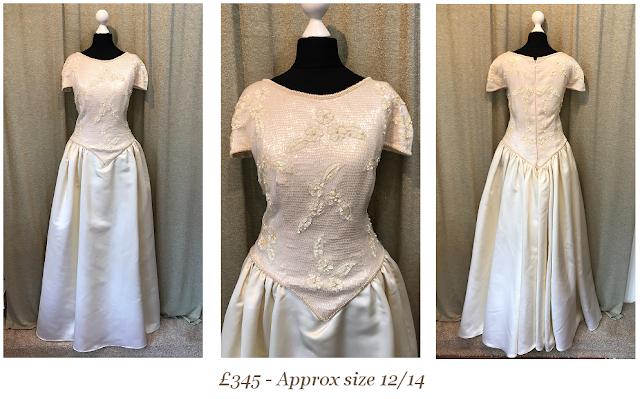 princess style vintage wedding dress available at vintage lane bridal boutique in bolton , manchester, lancashire