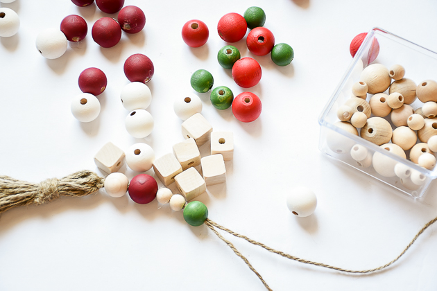 wood bead garland, christmas, christmas decor, garland, making wood bead garland