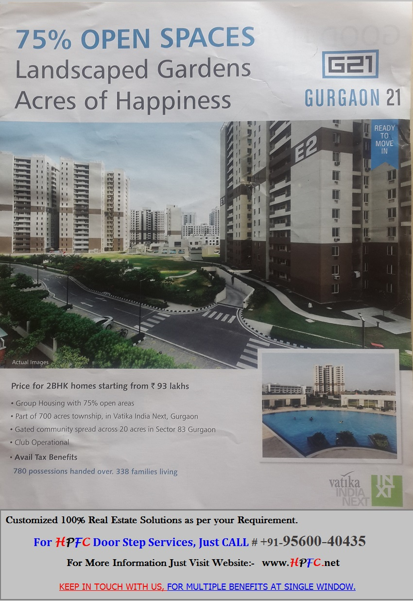 Ready to Move New Flats in Vatika Gurgaon 21, Vatika India Next, Sector-83, Gurgaon (Gurugram)