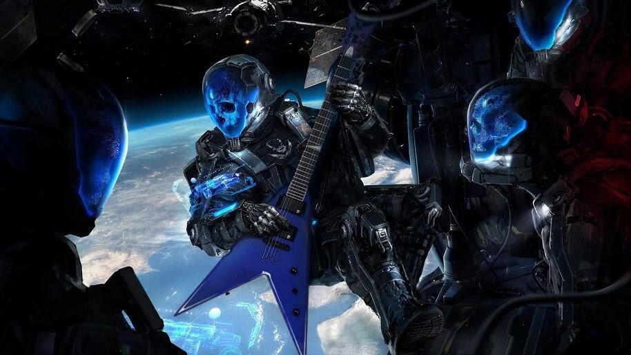 Sci Fi Skull Astronaut Electric Guitar 4k Wallpaper 4 5