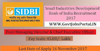 Small Industries Development Bank of India Recruitment 2017– Managing Director & Chief Executive Officer