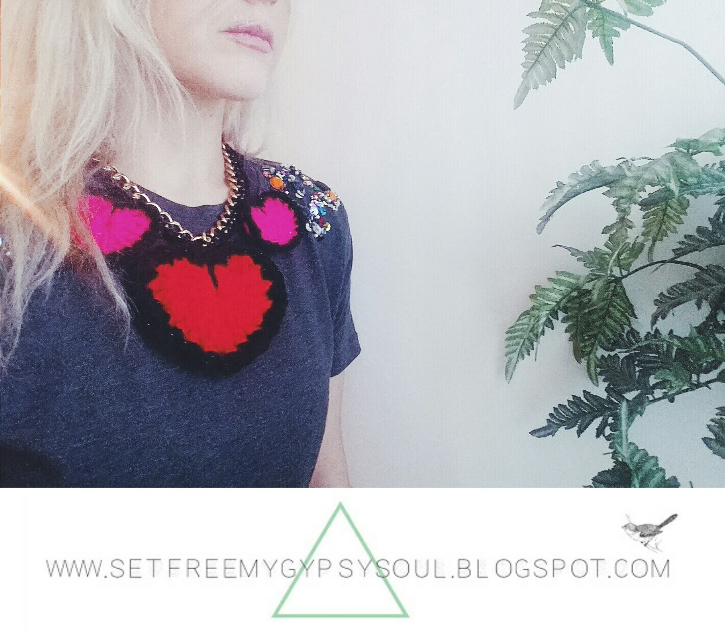 Free Crochet Pattern   Make This Cute Crochet DIY Statement Necklace With Love Hearts And Chain Detail