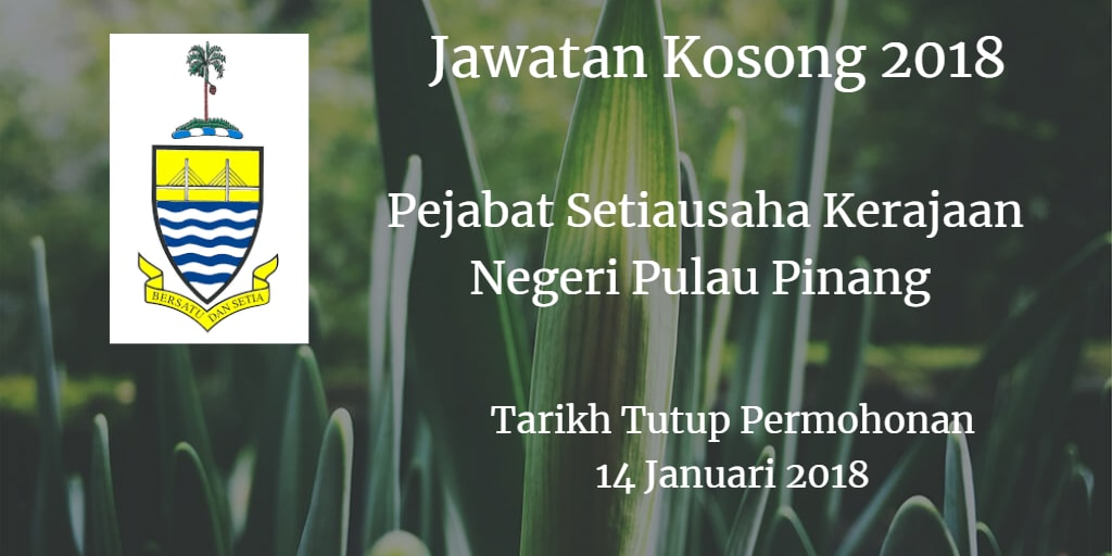 Jawatan Kosong SUK Pulau Pinang 14 Januari 2018